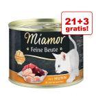 21 + 3 gratis! Miamor Feine Beute, 24 x 185 g