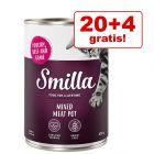20 + 4 gratis! Smilla Rind, Geflügel- und Multifleischtöpfchen 24 x 400 g