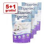 5 + 1 gratis! Tigerino Crystals, żwirek dla kota, 6 x 5 l
