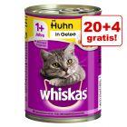 20 + 4 gratis! Whiskas 1+ konzerve 24 x 400 g