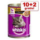 10 + 2 gratis! Whiskas 1+ konzerve 12 x 400 g