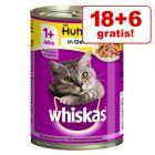 18 + 6 gratis! Whiskas 1+ konzerve 24 x 400 g
