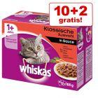 10 + 2 gratis! Whiskas  porsjonsposer 12 x 100g