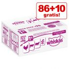 86 + 10 gratis! Whiskas 1+ vrečke 96 x 100 g