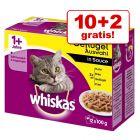 10 + 2 gratis! Whiskas 12 x 100 g