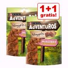 1 + 1 gratis! 2 x 300 g AdVENTuROS Hundesnacks