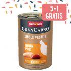 5 + 1 gratis! 6 x 400 g Animonda GranCarno Adult Single Protein