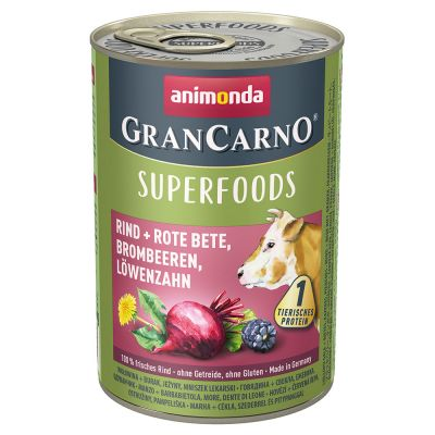 5 + 1 gratis! 6 x 400 g Animonda GranCarno Adult Superfoods