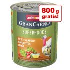 5 + 1 gratis! 6 x 800 g Animonda GranCarno Adult Superfoods
