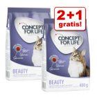 2 + 1 gratis! 3 x 400 g Concept for Life tørfoder