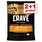 2 + 1 gratis! 3 x 750 g Crave Adult Cat
