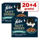 20 + 4 gratis! 24 x 80 g Felix Tasty Shreds