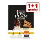 1 + 1 gratis! 2 x 150 g / 400 g Pro Plan Hundesnacks