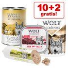 10 + 2 gratis! 12 x 300 g/ 400 g Wolf of Wilderness Nassfutter 3,6 kg/ 4,8 kg