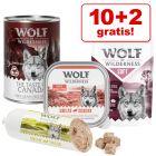 10 +2  gratis! 12 x 300 g/ 400 g Wolf of Wilderness våtfòr