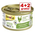4 + 2 gratis! 6 x 70 g GimCat Superfood ShinyCat Duo