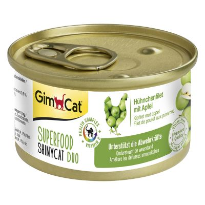 4 + 2 gratis! 6 x 70 g GimCat Superfood ShinyCat Duo misto