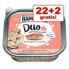 22 + 2 gratis! 24 x 100 g Happy Cat Duo
