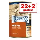 22 + 2 gratis! 24 x 400 g Happy Dog Pur
