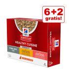 6 + 2 gratis! 8 x 80 g Hill's Science Plan Feline Healthy Cuisine