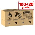 "100 + 20 gratis! 120 x 85 g Jumbopack Felix ""So gut wie es aussieht"" Gelee"