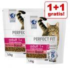 1 + 1 gratis! 2 x 750 g/1,4 kg Perfect Fit kattefoder