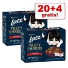 20 + 4 gratis! 24 x 80 g Latz Tasty Shreds Pouches