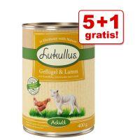 5 + 1 gratis! 6 x 400 g Lukullus Naturkost Adult & Junior