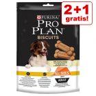 2 + 1 gratis! 3 x 400 g PRO PLAN Biscuits Light snackuri câini