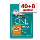 40 + 8 gratis! 48 x 85 g Purina ONE hrană umedă pisici