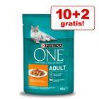 10 + 2 gratis! 12 x 85 g Purina One Katzenfutter