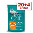 20 + 4 gratis! 24 x 85 g Purina One Katzenfutter
