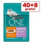 40 + 8 gratis! 48 x 85 g Purina ONE Katzenfutter