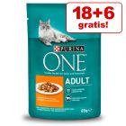 18 + 6 gratis! 24 x 85 g Purina One Katzenfutter 2,04 kg