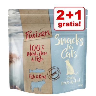 2 + 1 gratis! 3 x 40 g Purizon Snack gatto - senza cereali