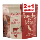 2 + 1 gratis! 3 x 100 g Purizon Snackuri fără cereale pentru câini