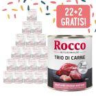 22 + 2 gratis! 24 x 800 g Rocco Cassic Trio di Carne