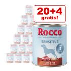20 + 4 gratis! 24 x 800 g Rocco Sensitive