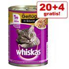20 + 4 gratis! 24 x 400 g Whiskas 1+ alimento umido per gatti