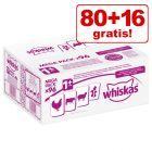 80 + 16 gratis! 96 x 100 g Whiskas 1+ buste
