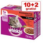 10 + 2 gratis! 12 x 100 g Whiskas Frischebeutel