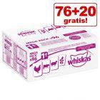 76 + 20 gratis! 96 x 100 g Whiskas Frischebeutel