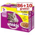 86 + 10 gratis! 96 x 100 g Whiskas hrană umedă pisici