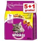 4 + 1 gratis! 5 x 800 g Whiskas kattetørfoder