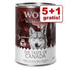 5 + 1 gratis! 6 x 400 g Wolf of Wilderness hundevådfoder