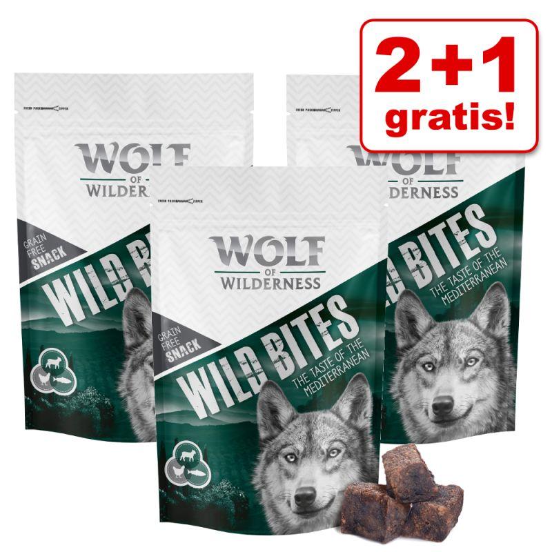 2 + 1 gratis! 3 x 180 g Wolf of Wilderness Snack - Wild Bites