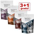 3 + 1 gratis! 4 x 180 g Wolf of Wilderness Wild Bites Snack per cani
