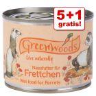 5 + 1 gratis! 6 x 200 g / 6 x 400 g Greenwoods Nassfutter