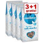 3 + 1 gratis! 4 x 100 g zoolove soft snacks til hunde - Winter edition