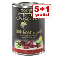5 + 1 gratis! 6 x 400 g zooplus Selection Adult Manzo, Fagiano & Oca